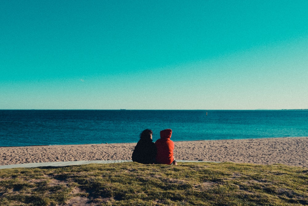 two person sitting on green grass