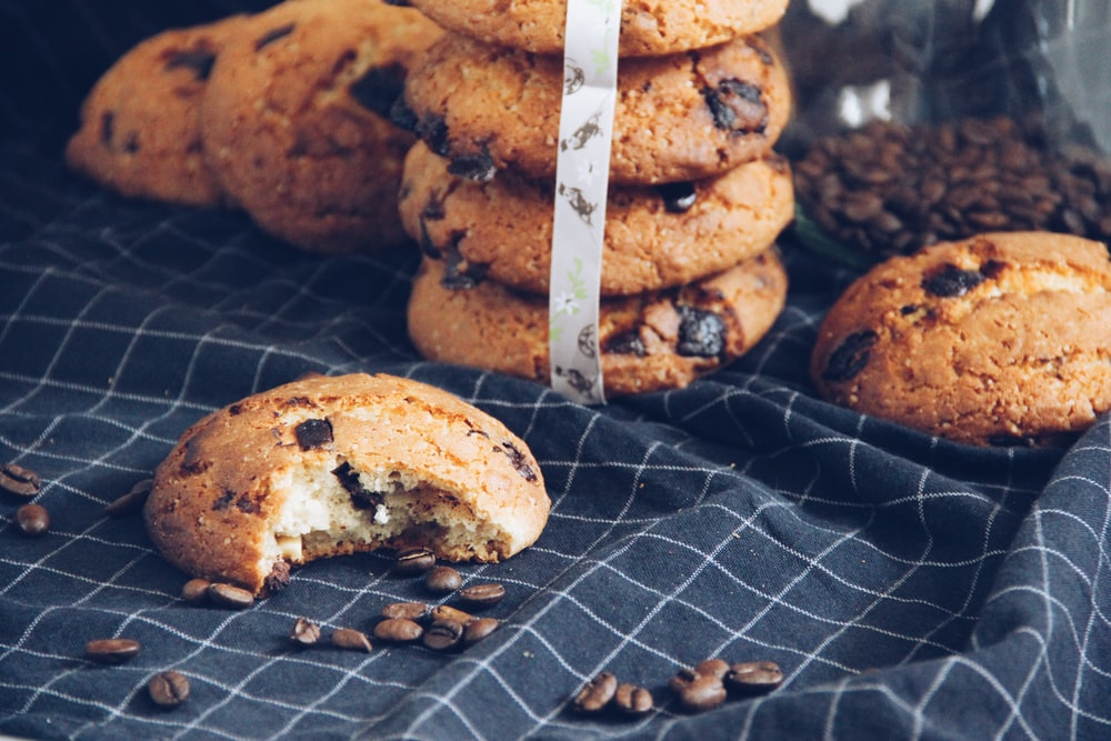 chocolate cookies on blue textile