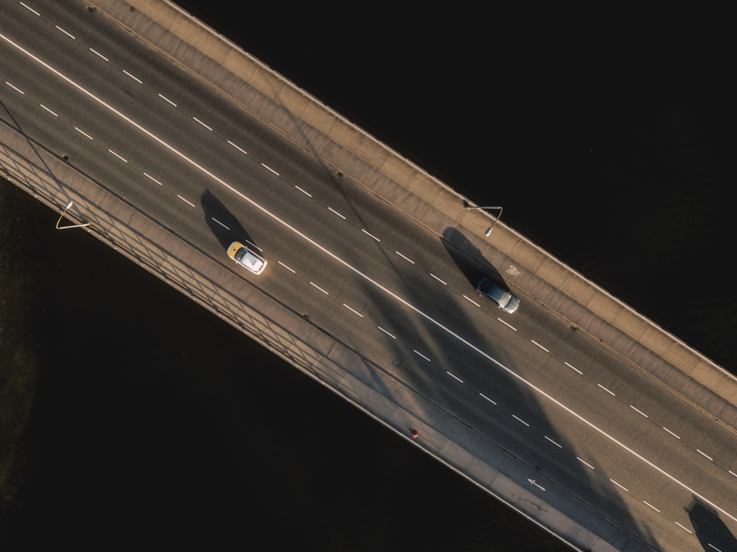 aerial photo of cars on road