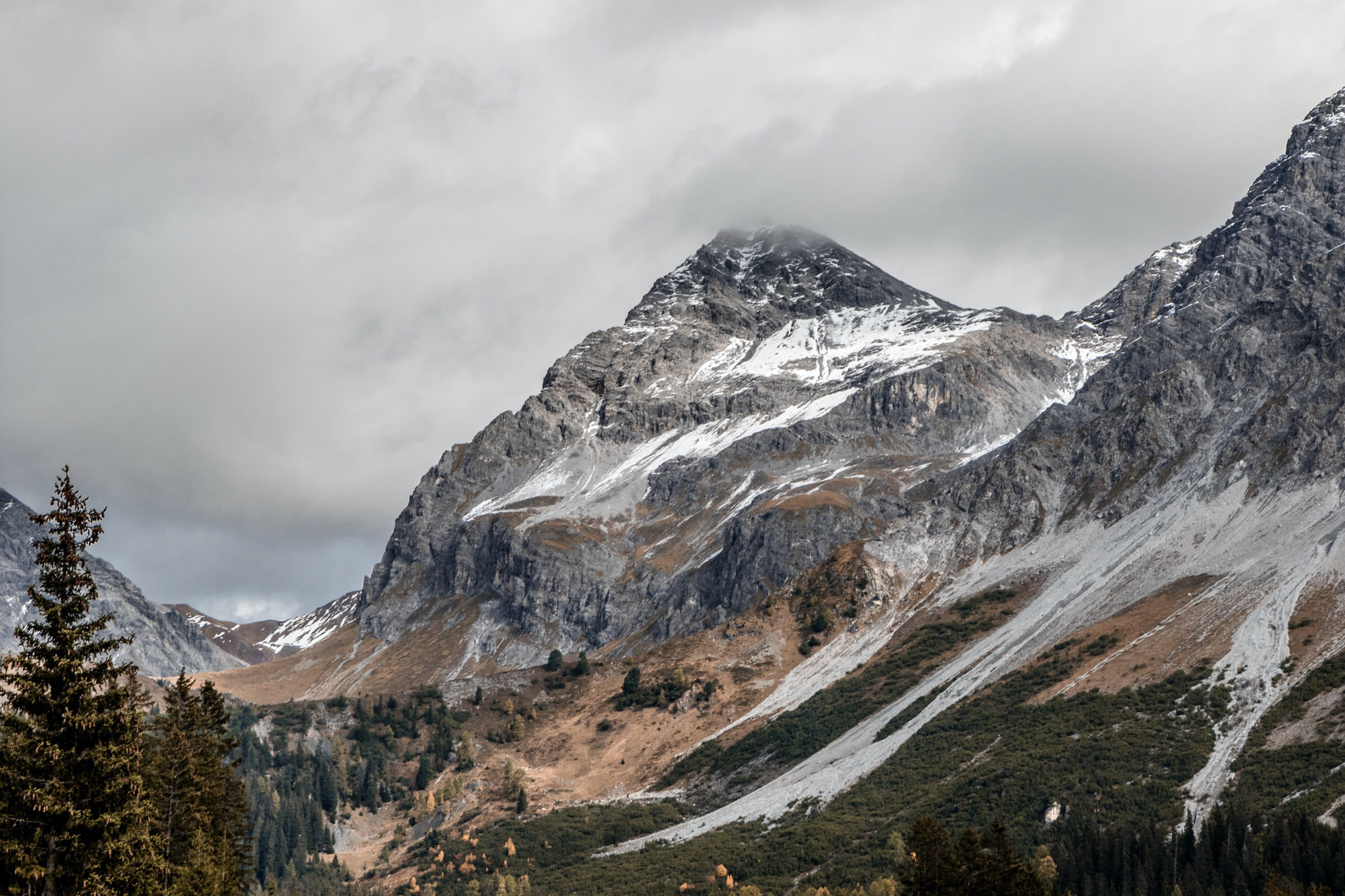 gray mountains with snow capped surrounded with trees