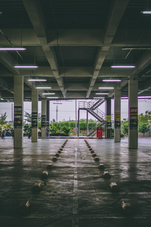 white concrete parking area