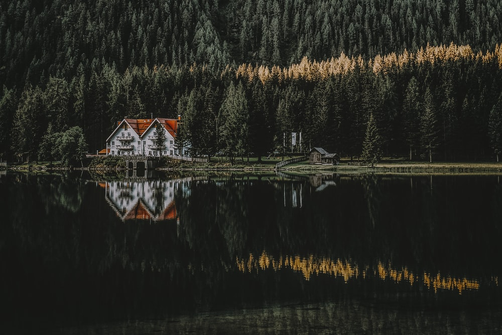 white and brown house with reflection on water surrounded with trees
