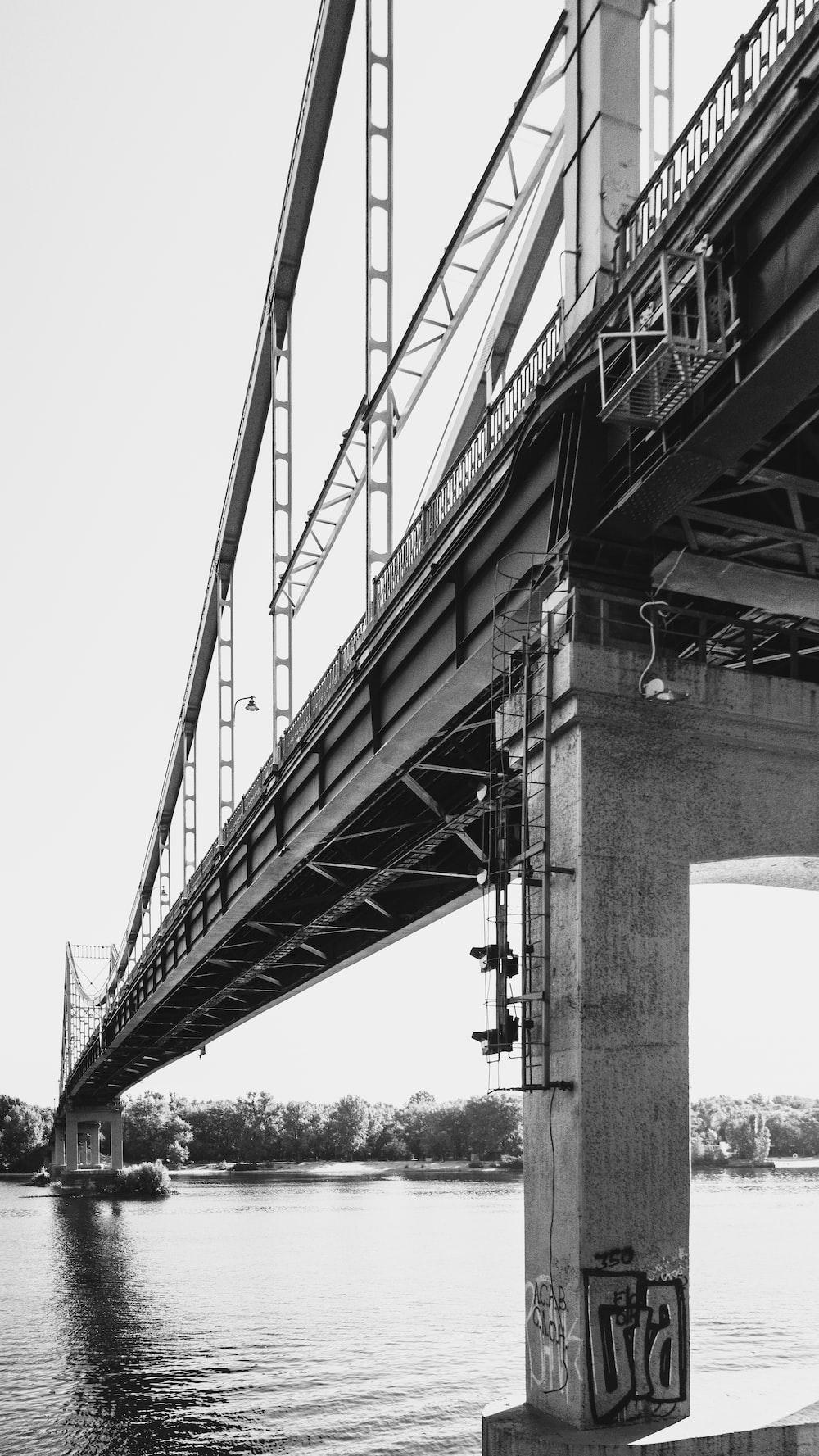 grayscale photo of bridge