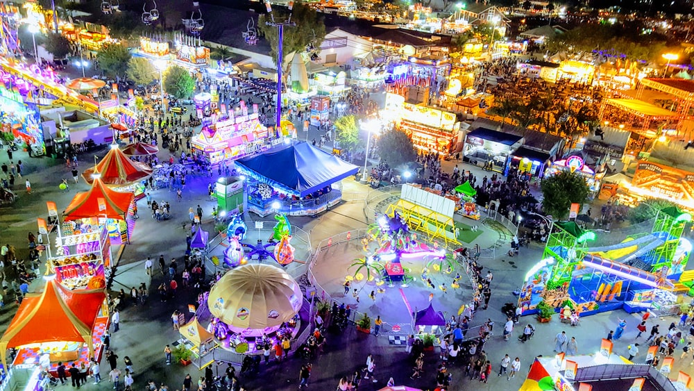 high-angle photography of carnival park