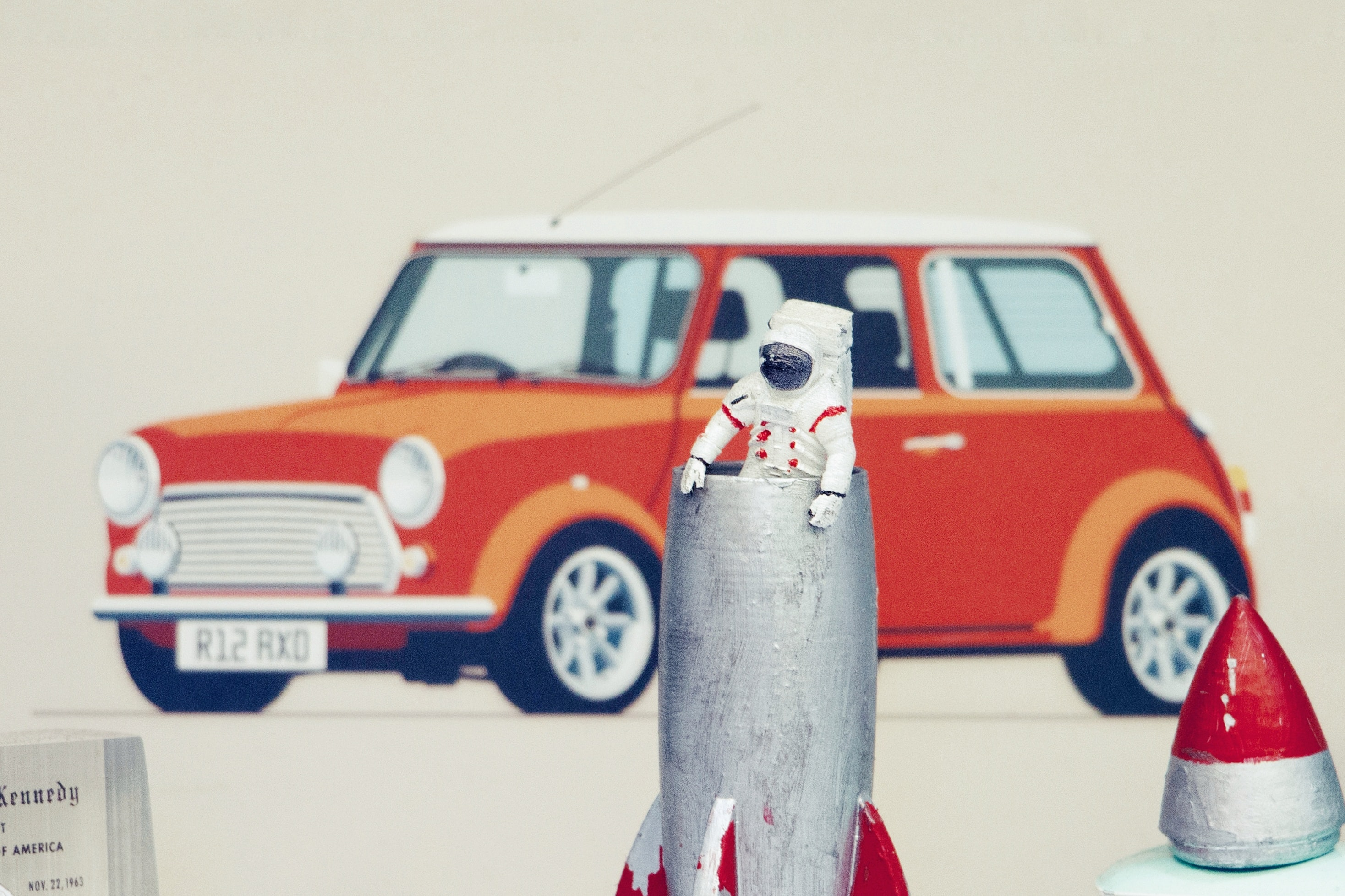 astronaut and car illustration