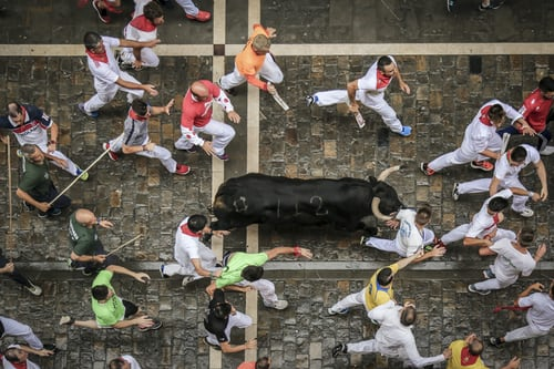 Pamplona bull run festival in Spain