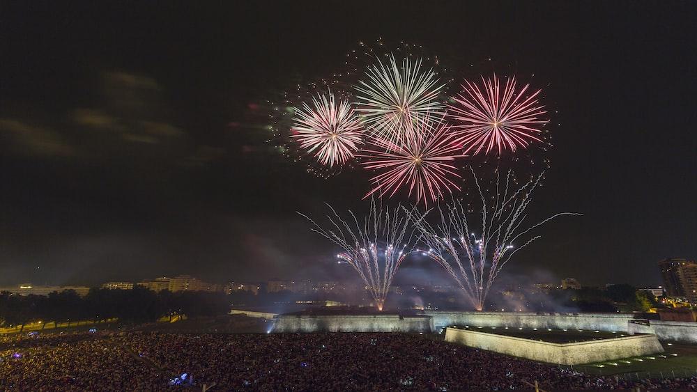 firework during night time