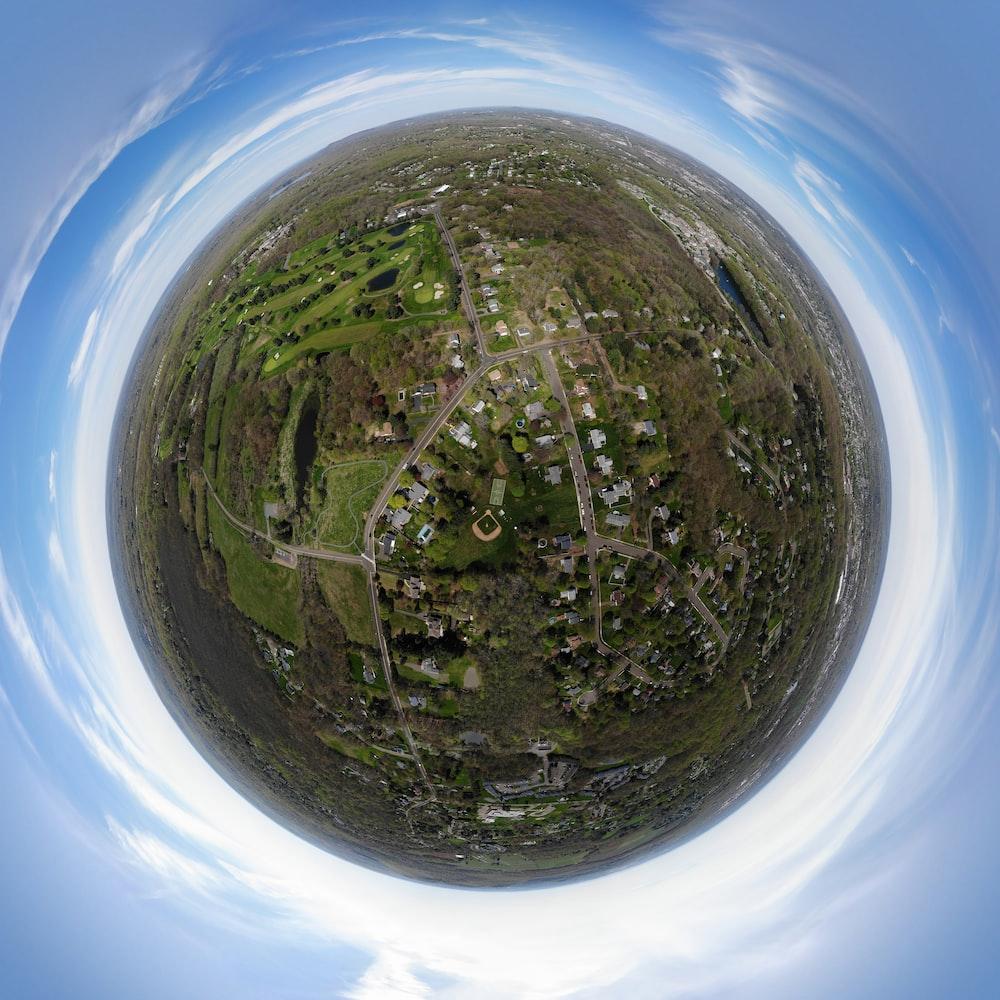 fish eye lens photography of village