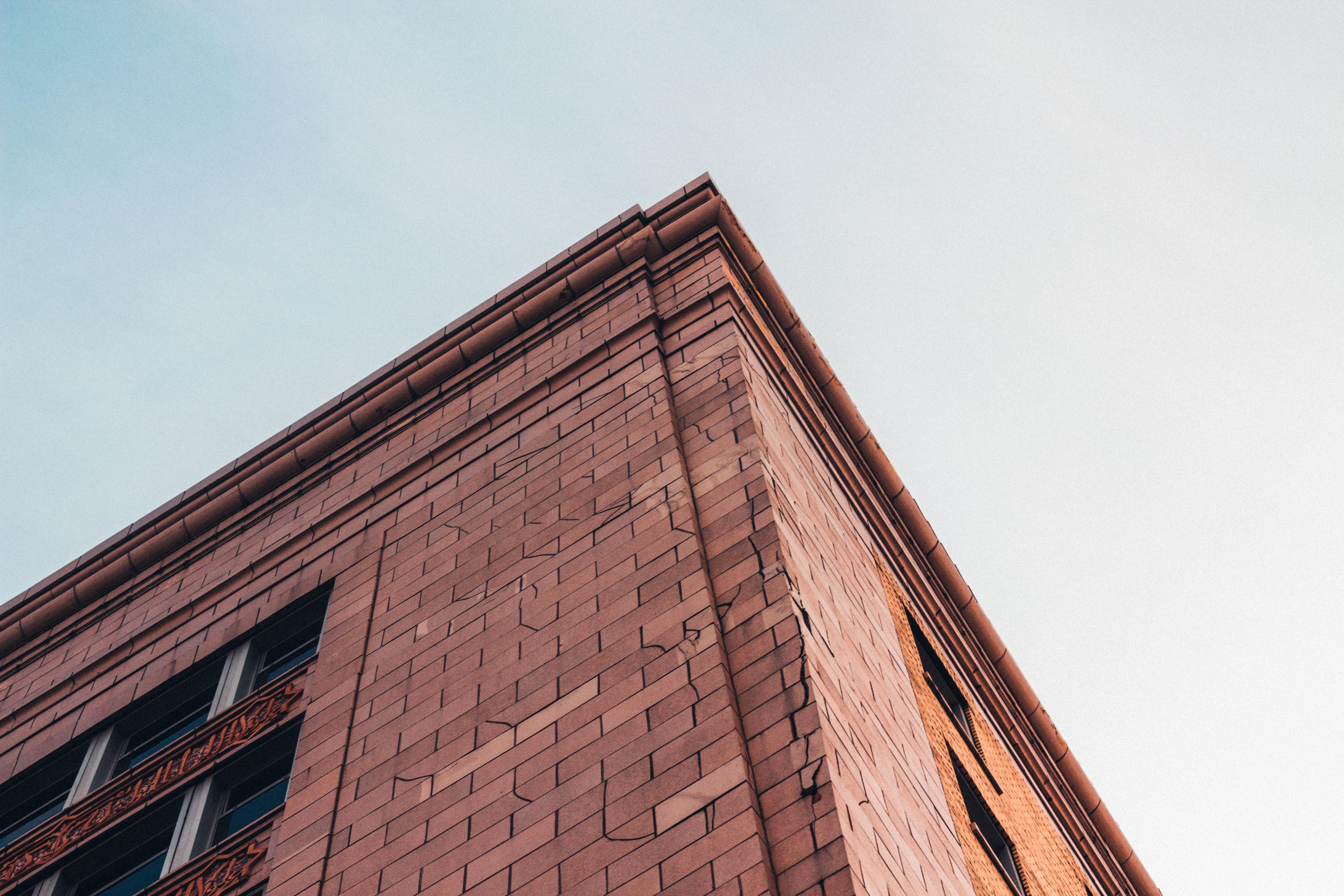 low angle of orange brick building