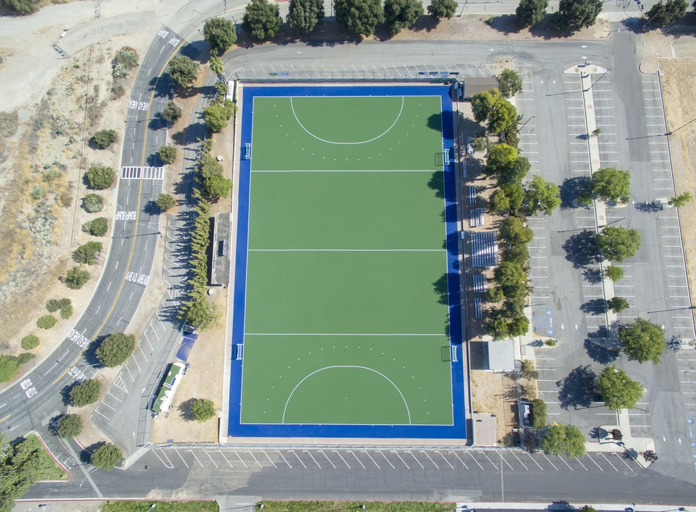high angle photography of green court