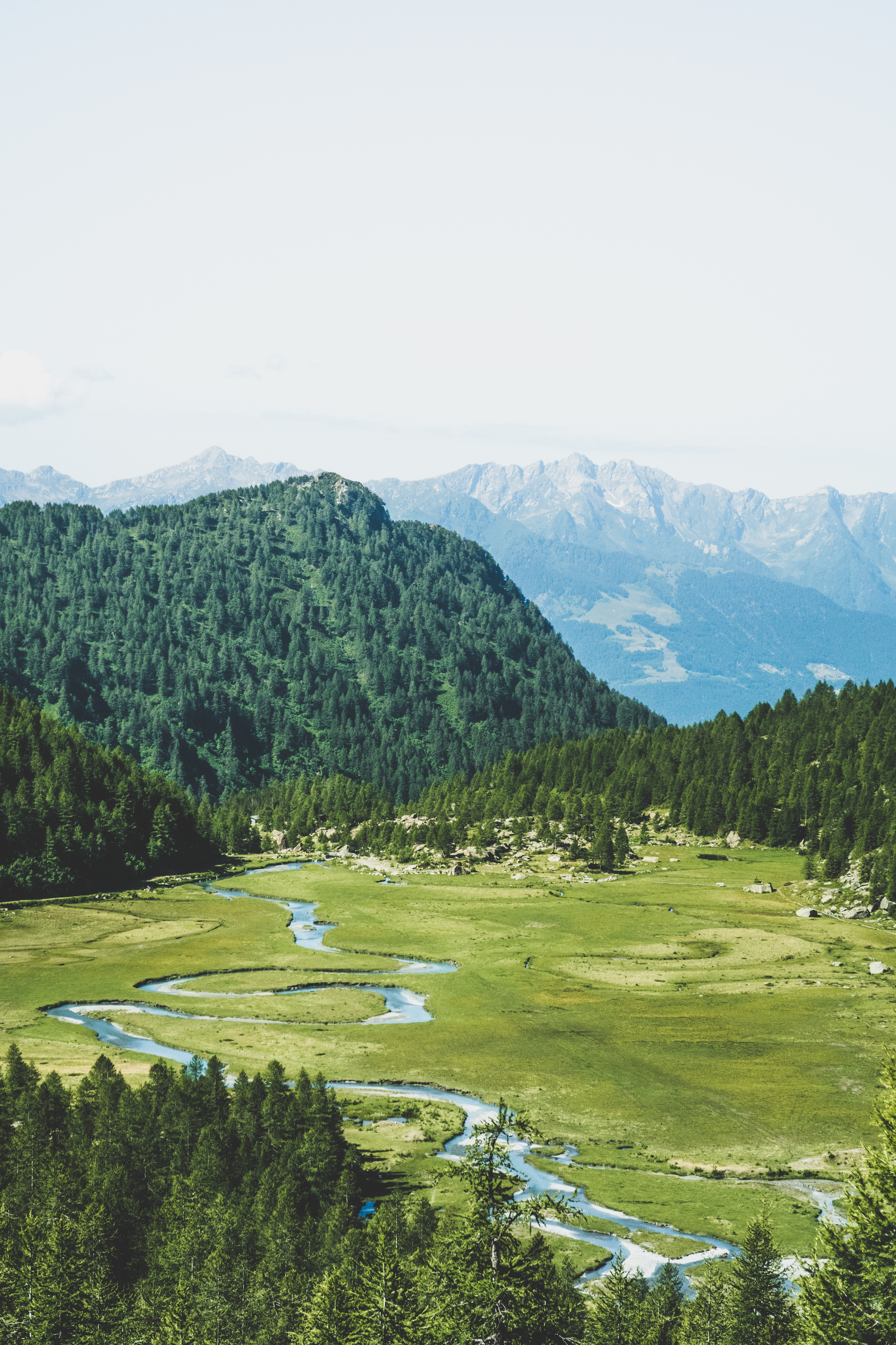 aerial view of river and grassland