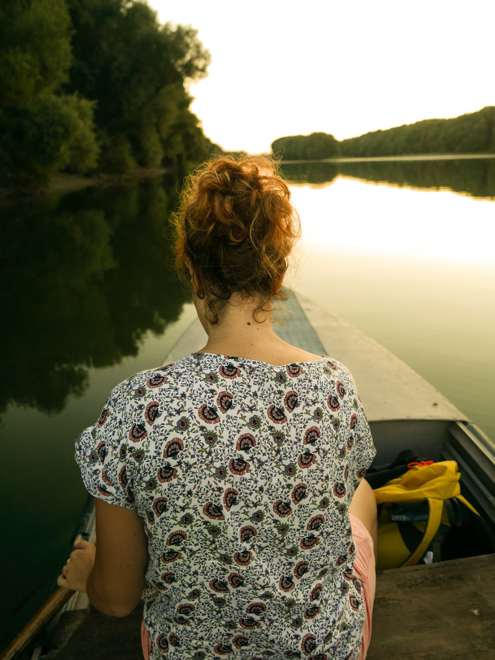 woman riding on boat