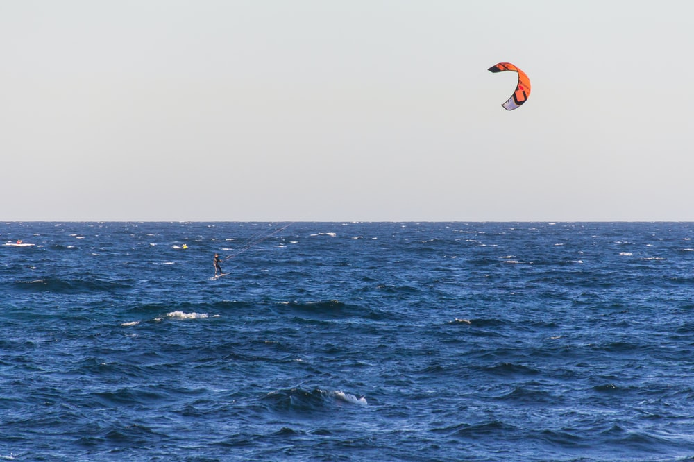 person parasailing on water