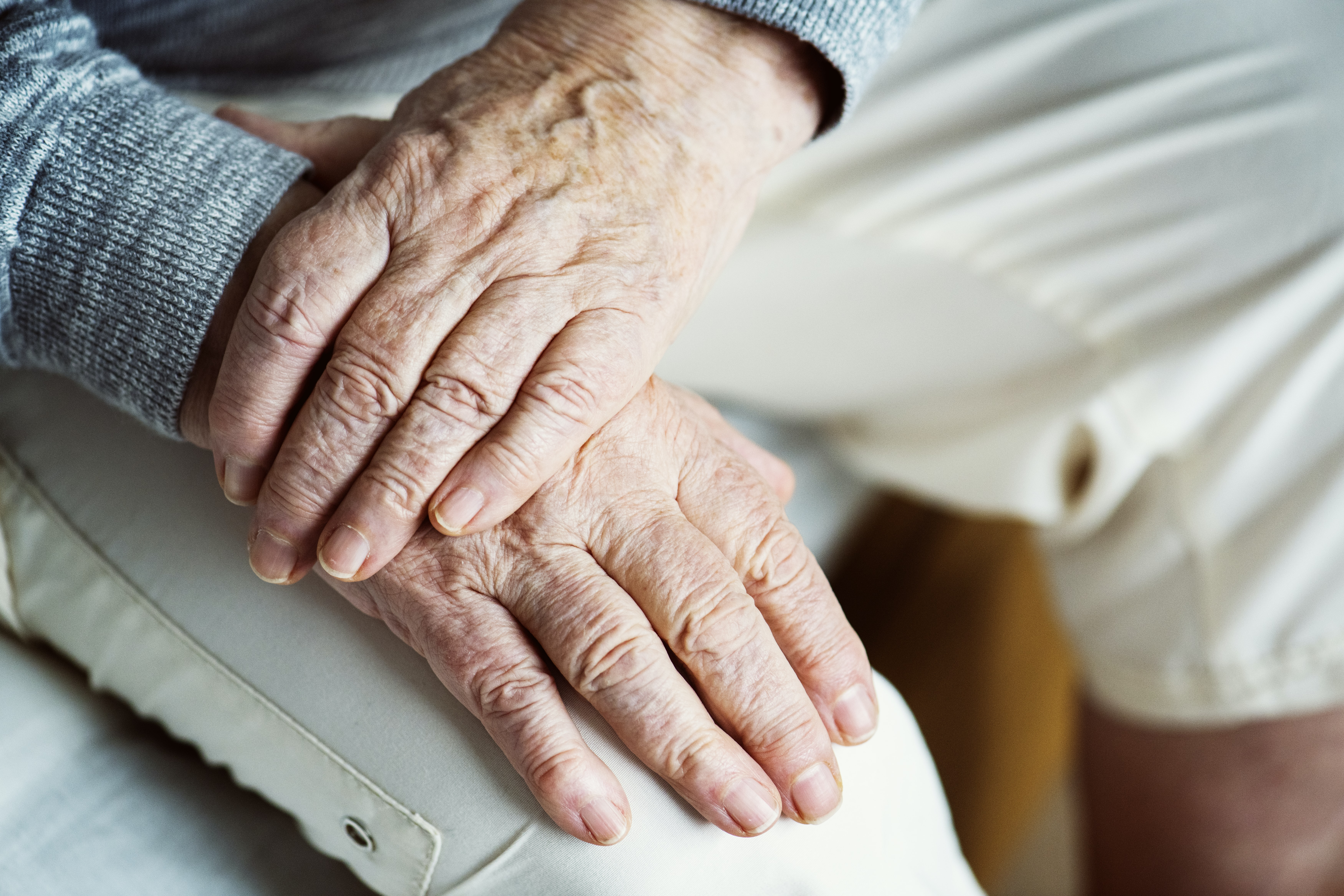 person's hands on lap