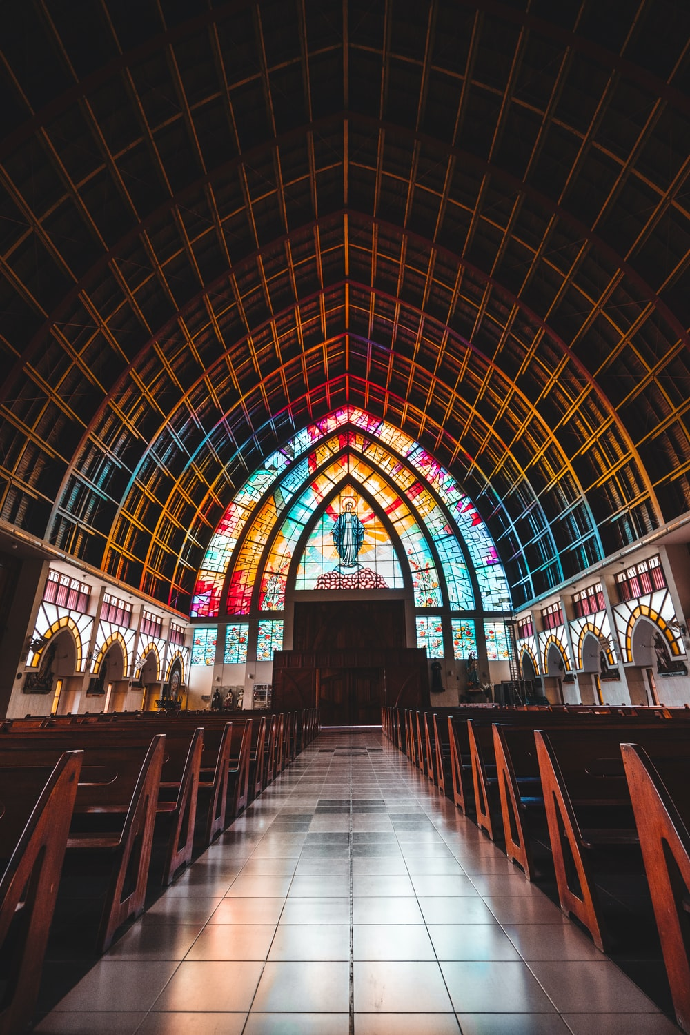 selective focus photography of church isle