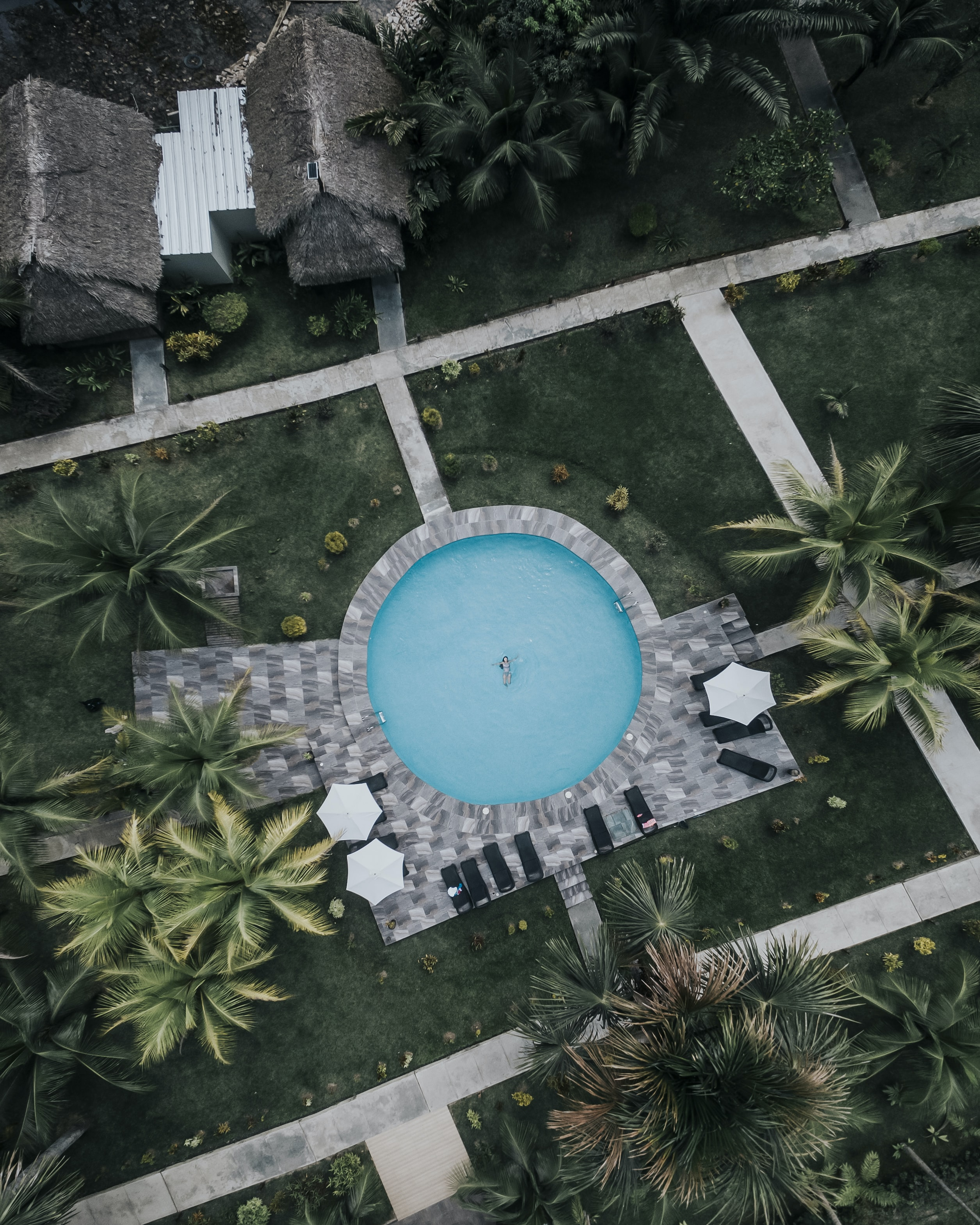 aerial view photography of inground pool