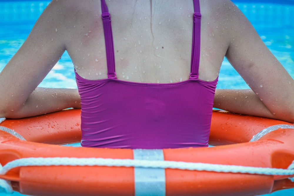 woman weawring inflatable floater