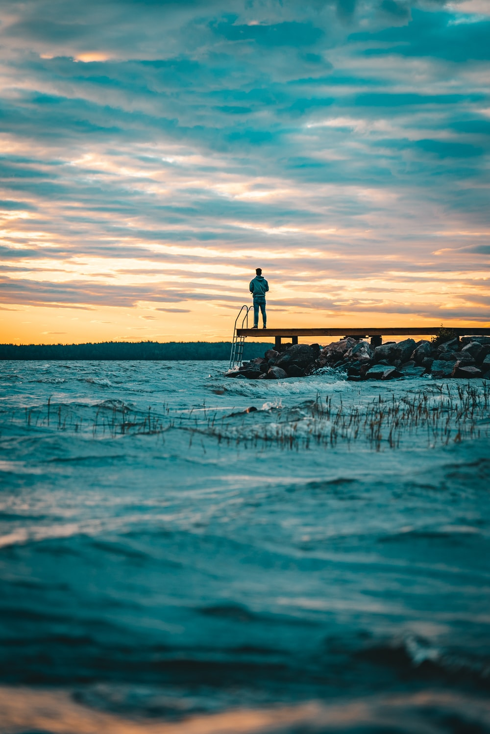 Person standing on bridge