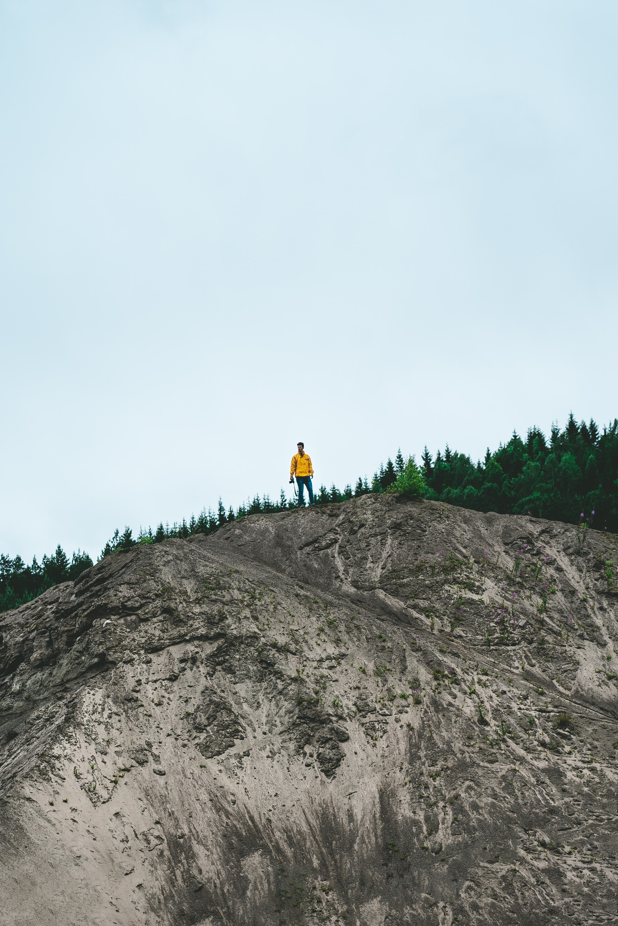 person standing on rock formation near green trees