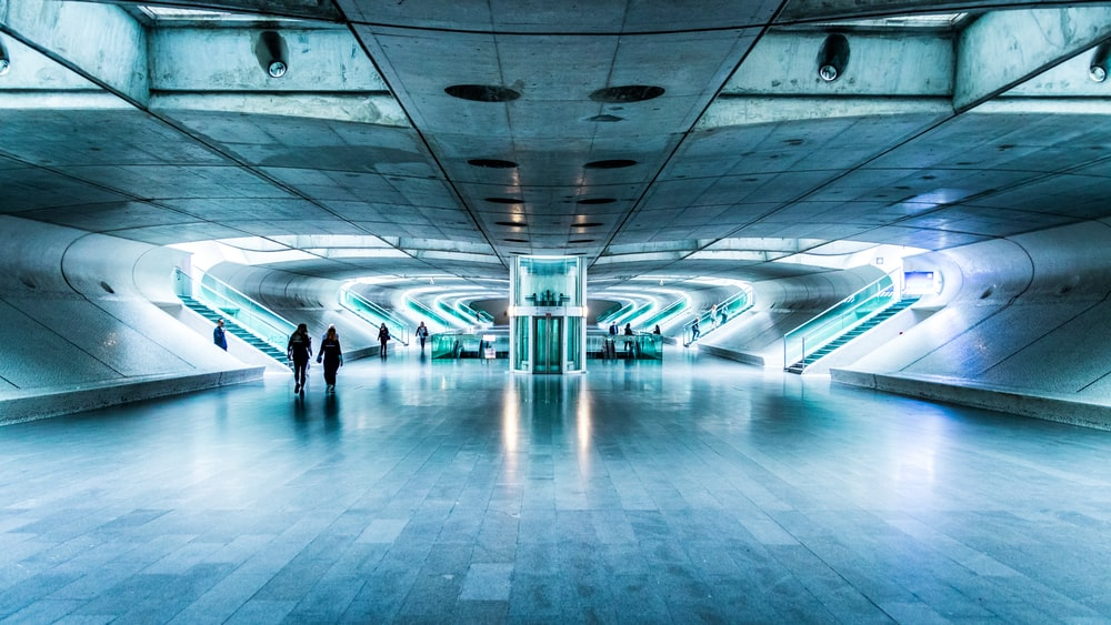 people walking on tunnel