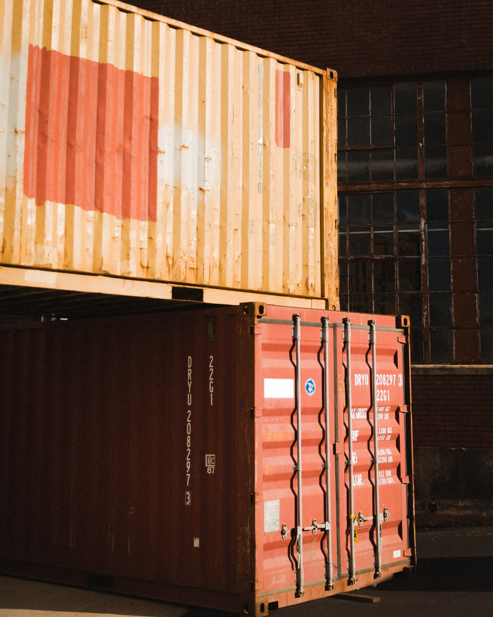 brown and red shipping containers