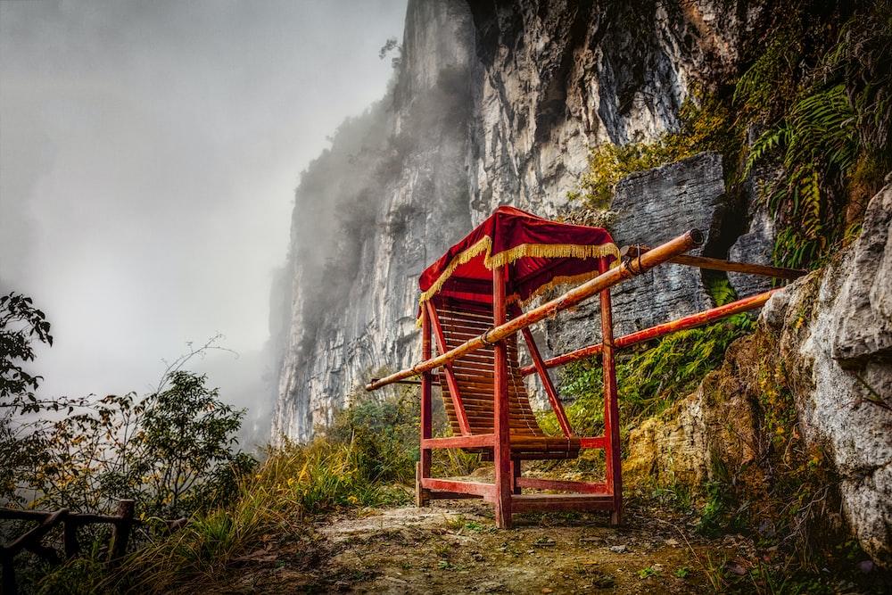 red chair near mountain