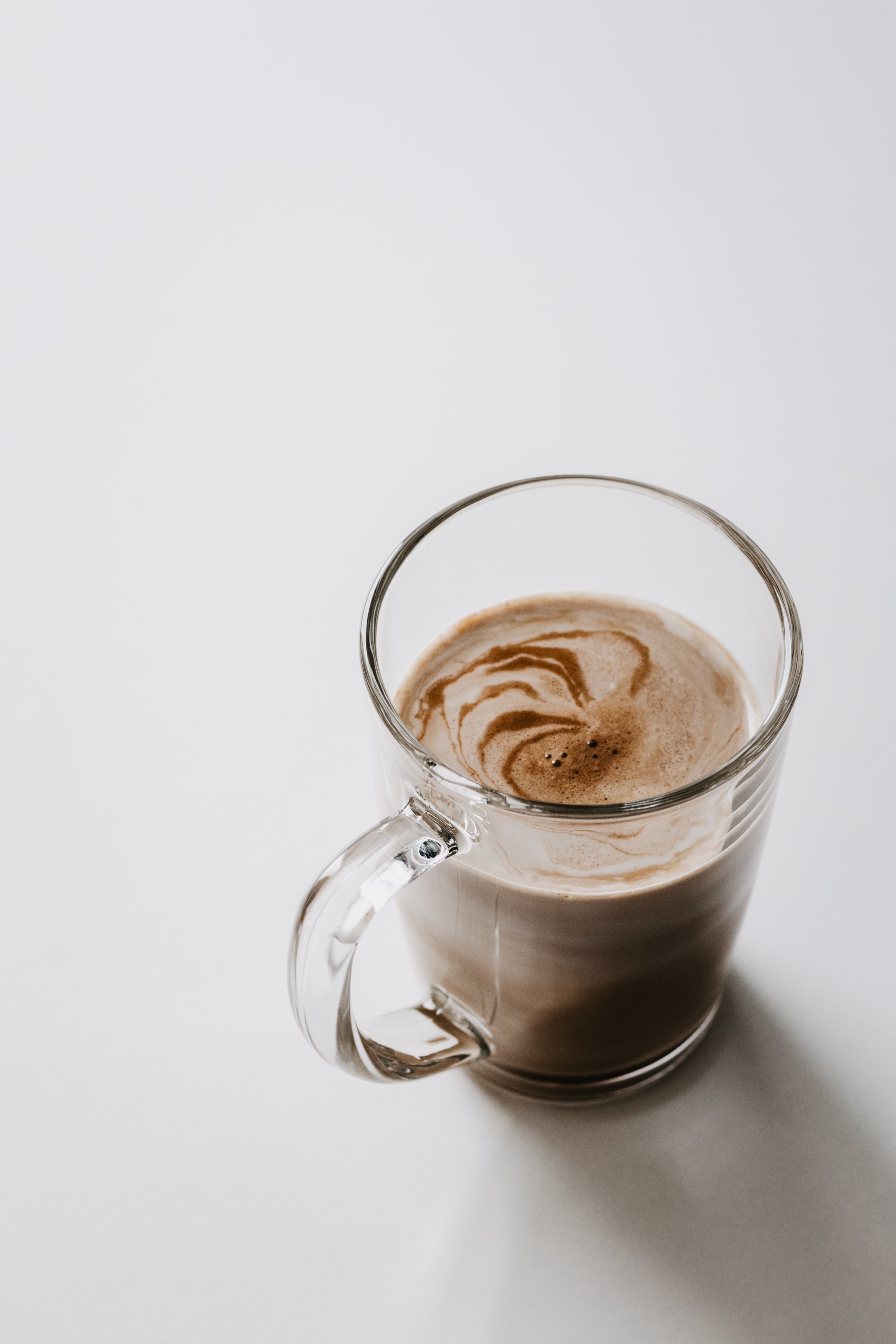 chocolate mocha serve in glass mug