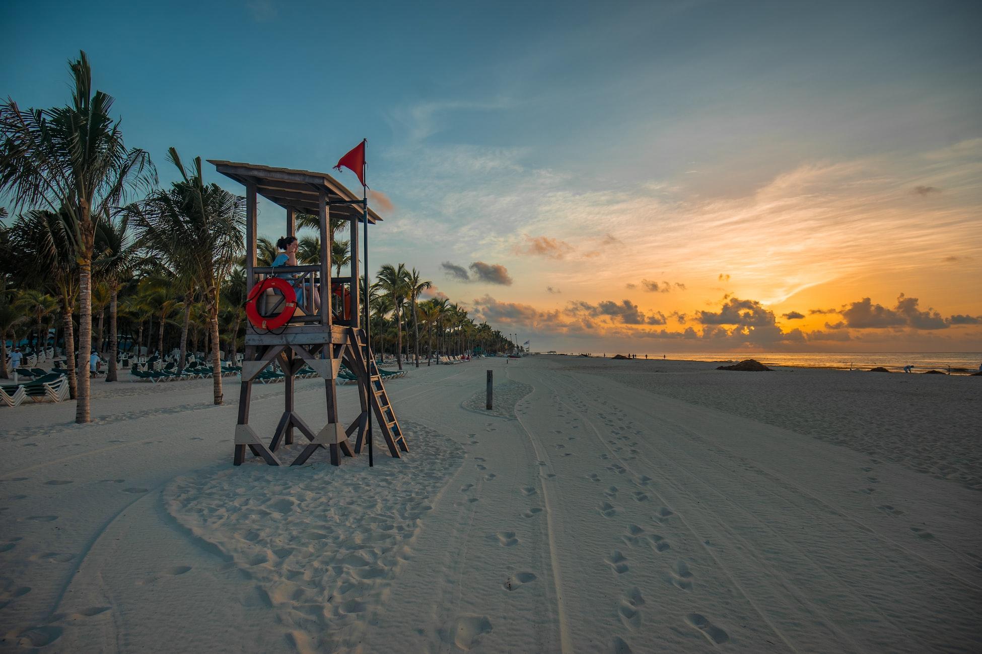 lifeguard tower on the beach in playa del carmen