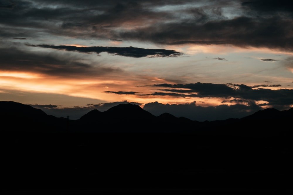 silhouette photography of mountain
