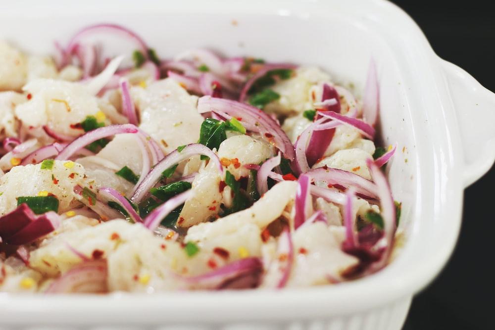 white ceramic bowl with onion dish