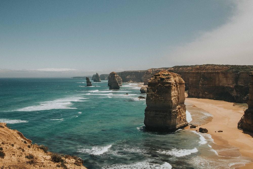 giant stones on seashore