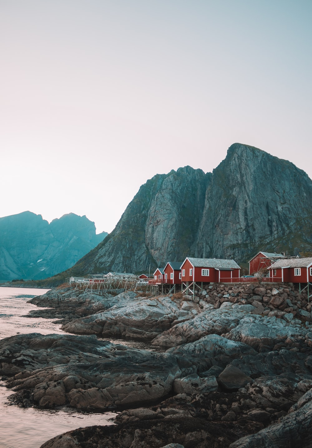 houses beside rock mountain