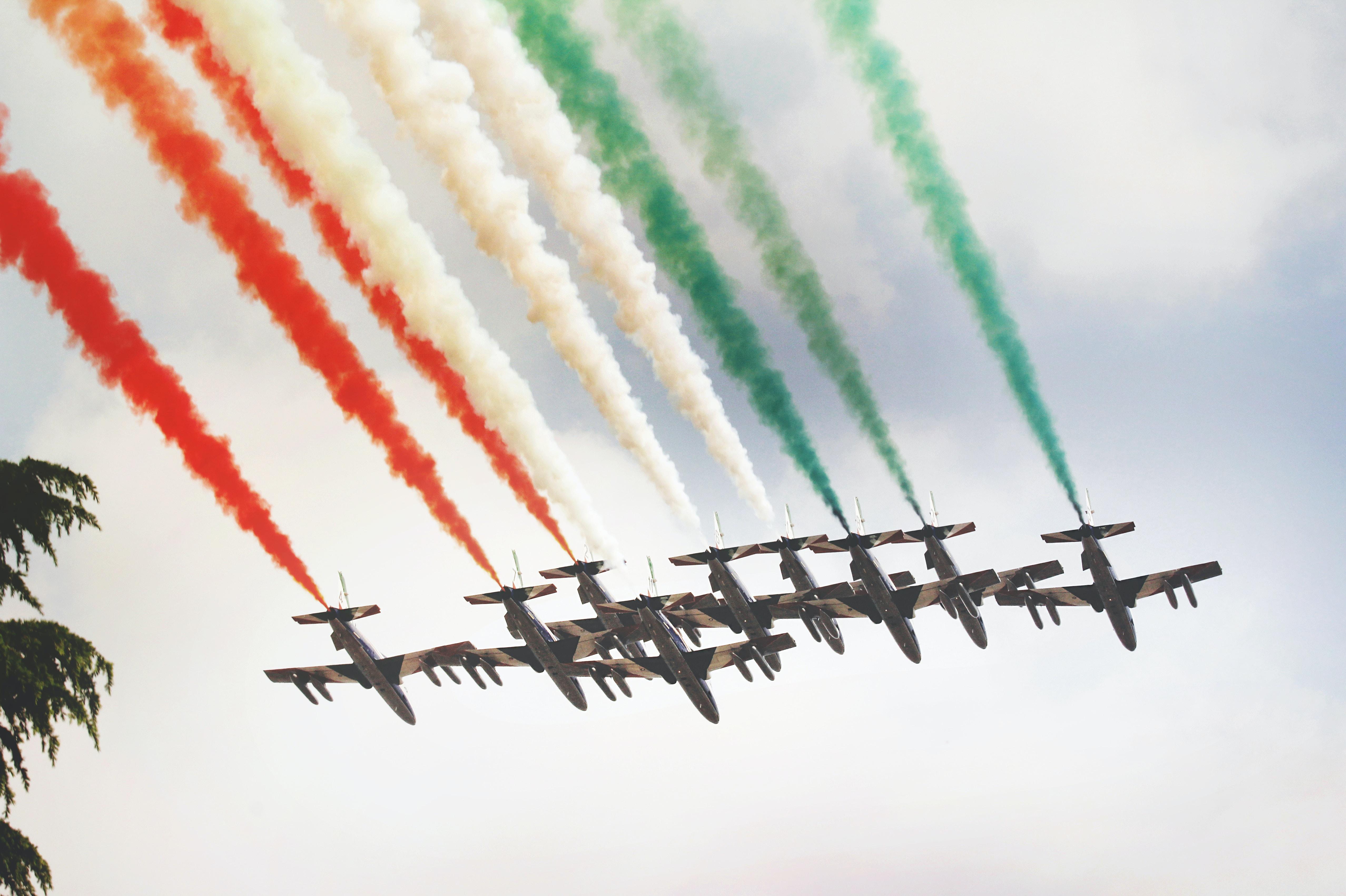 fighting jets performing aerobatics