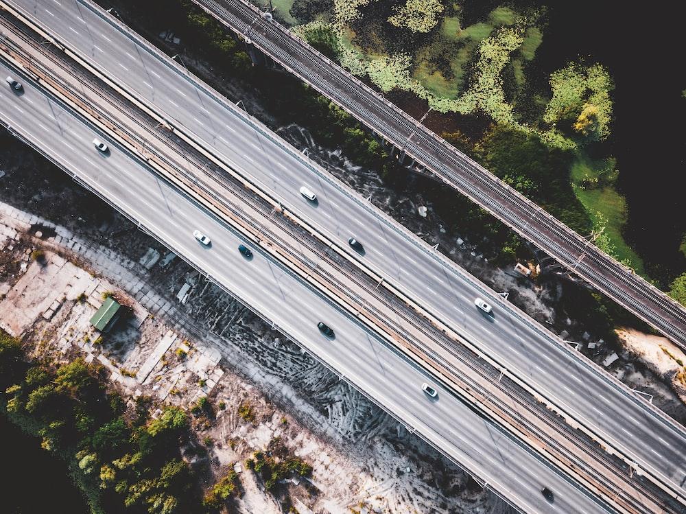top view of car road