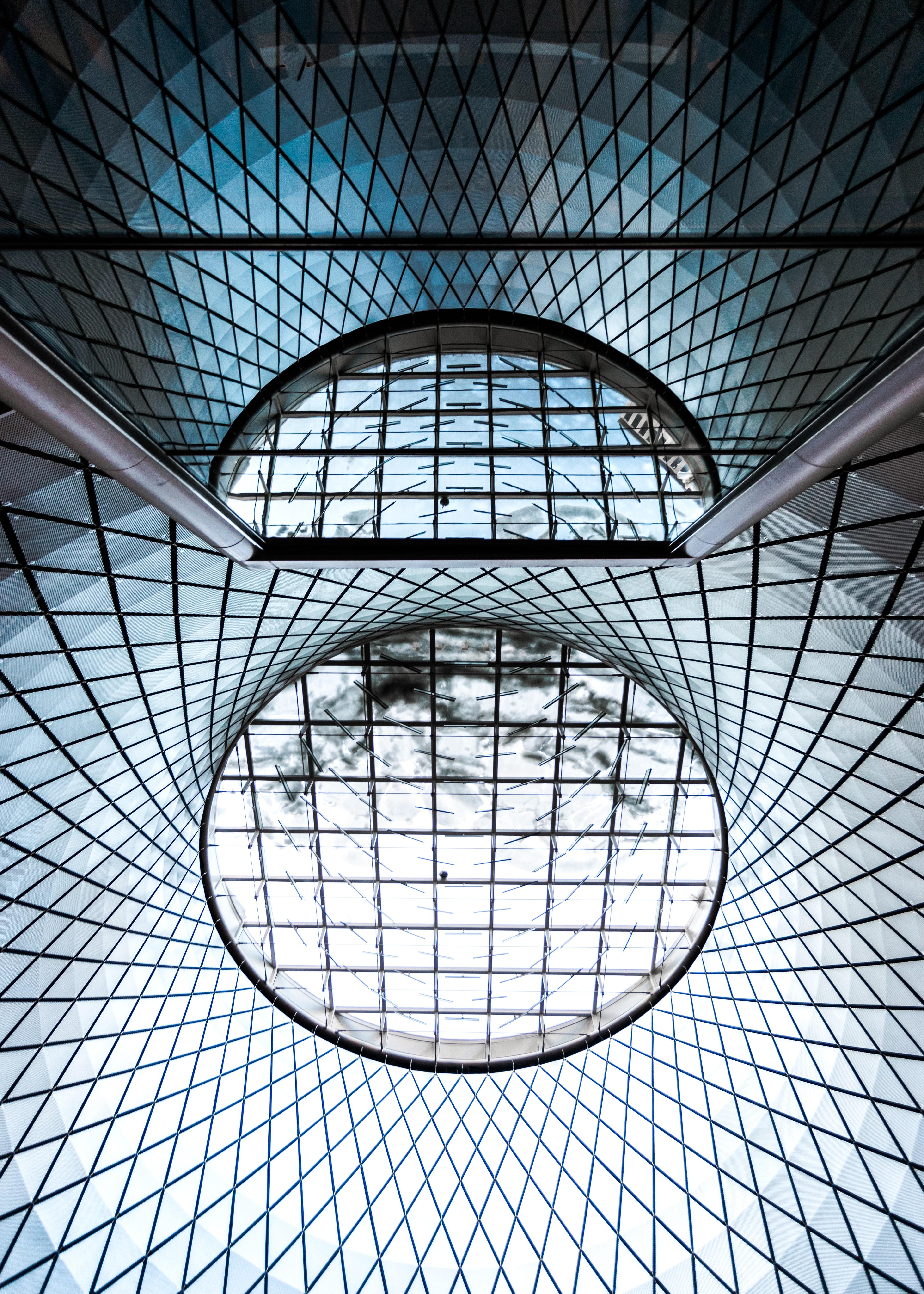 round glass ceiling windowpane