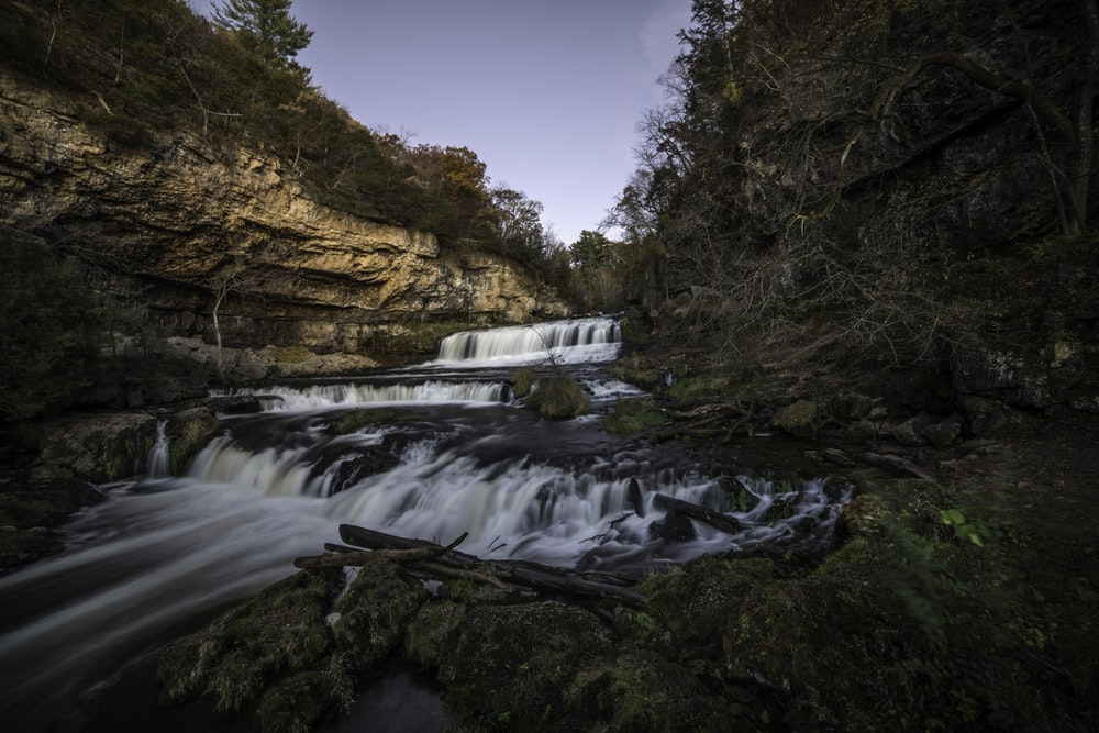 time-lapse photography of water falls