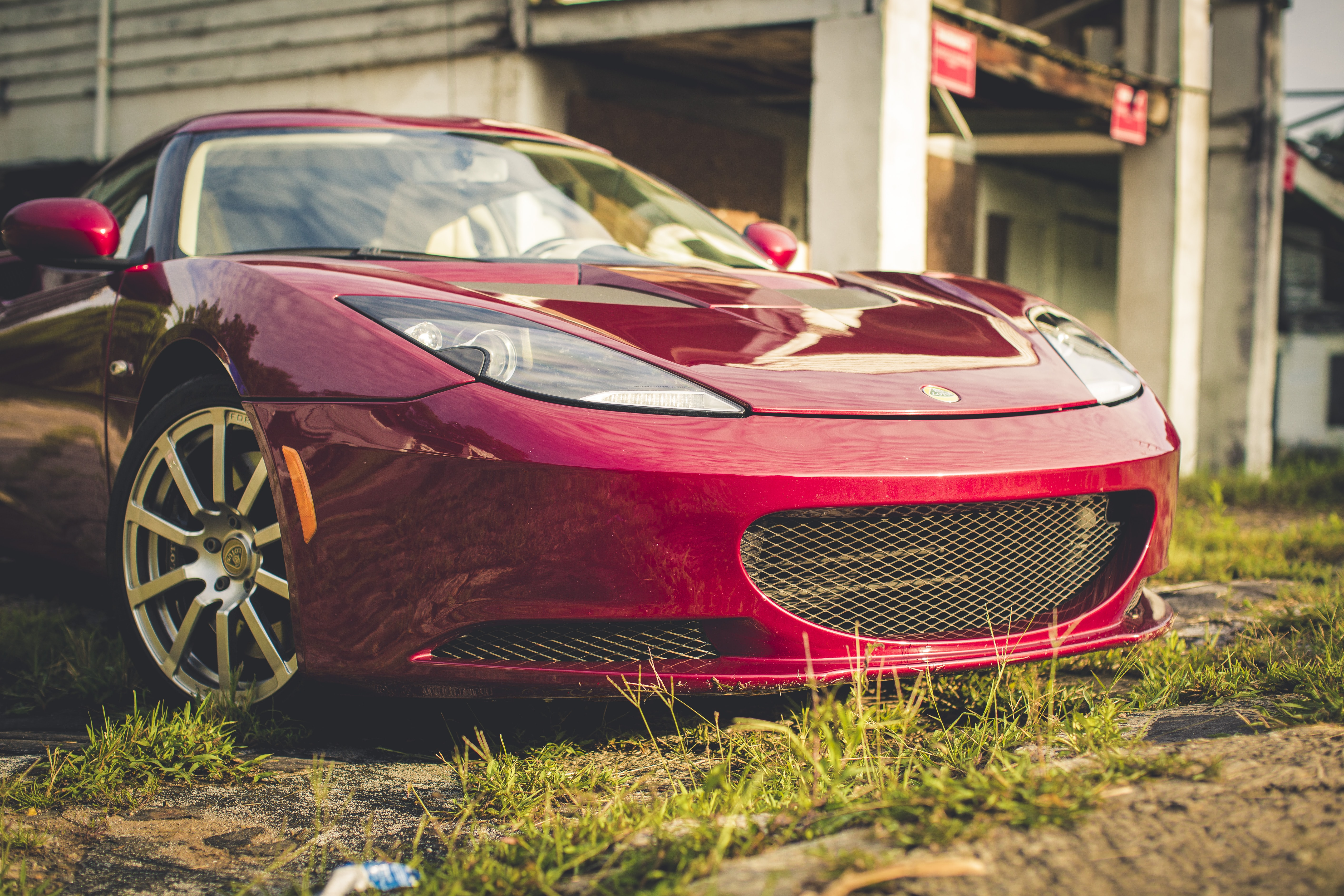 red luxury car parked