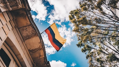 yellow, blue, and red flag colombia zoom background
