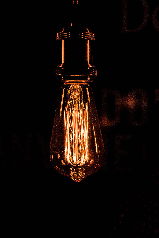 lit light bulb