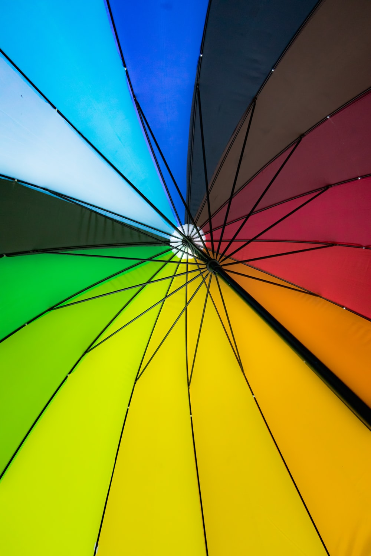closeup photo of multicolored umbrella