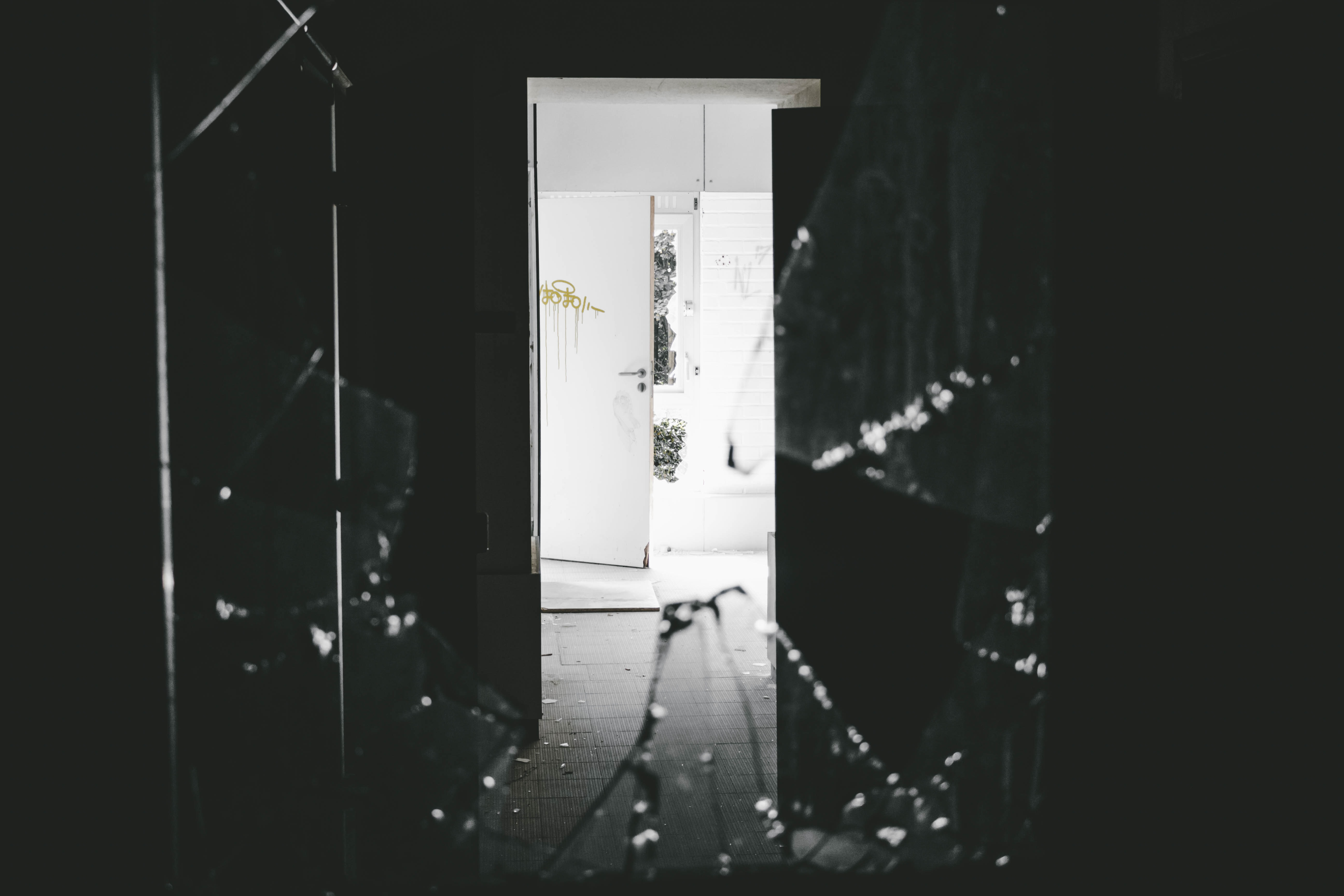 opened white wooden door