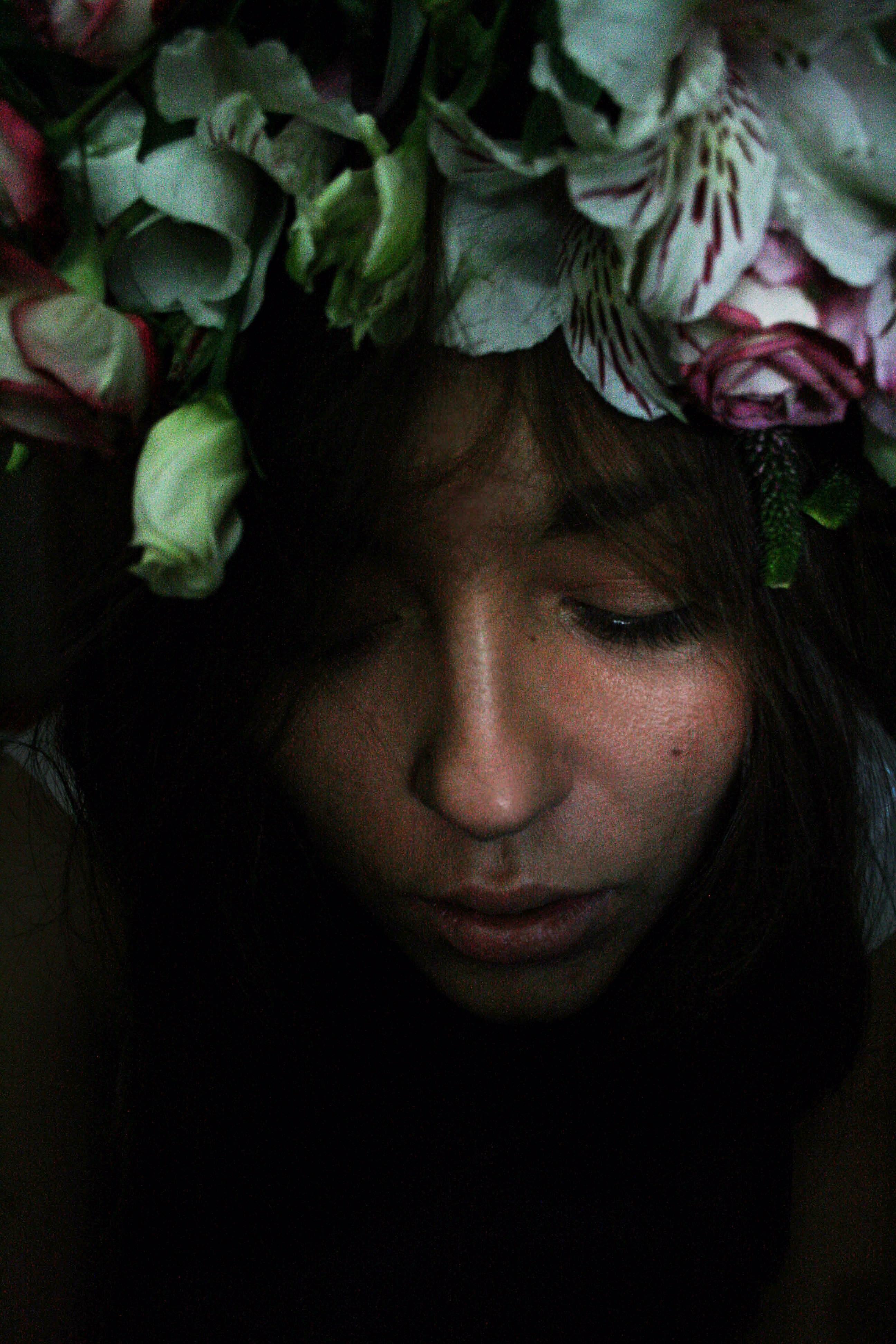 woman with flower headband