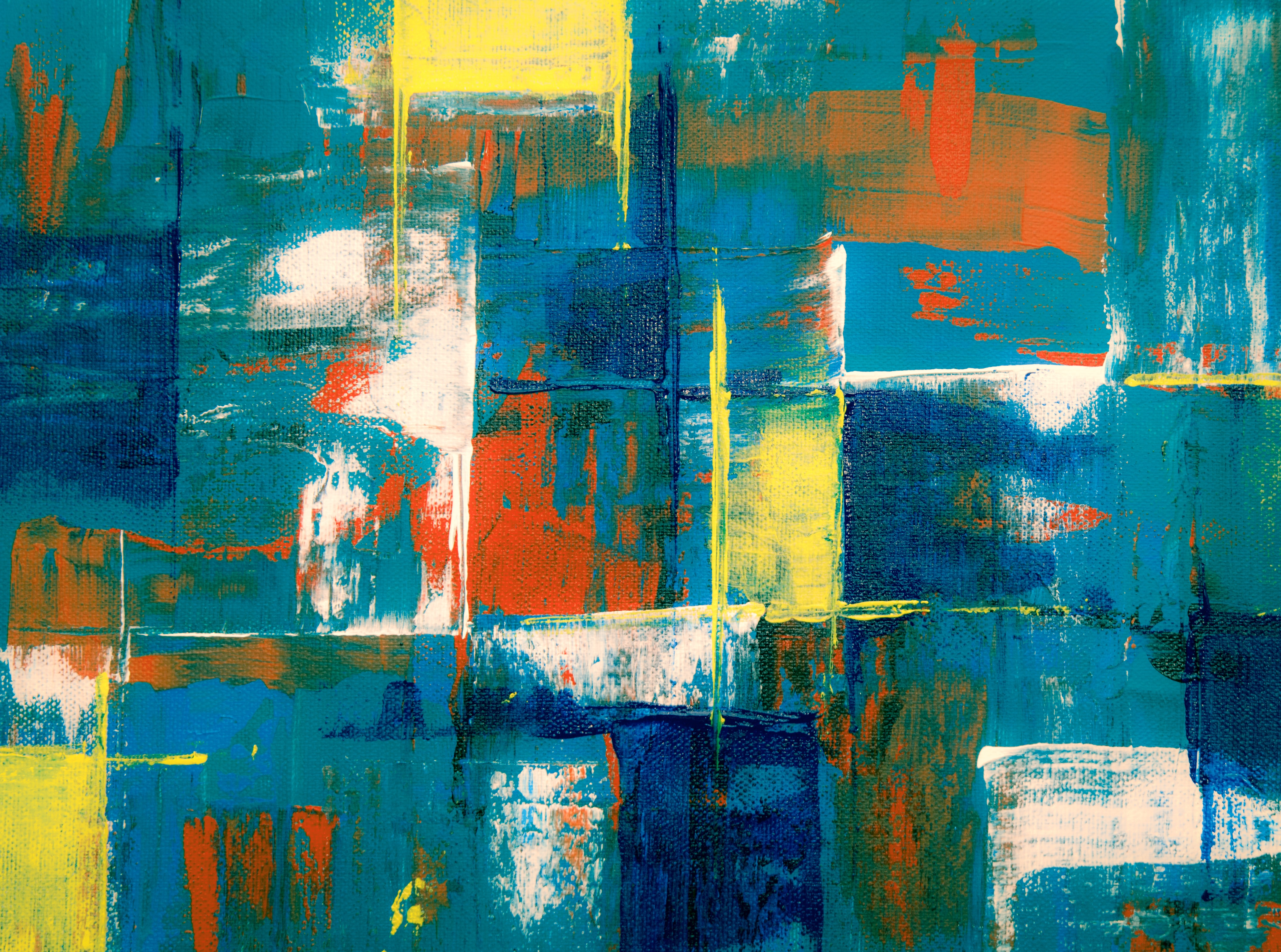 teal and yellow abstract painting