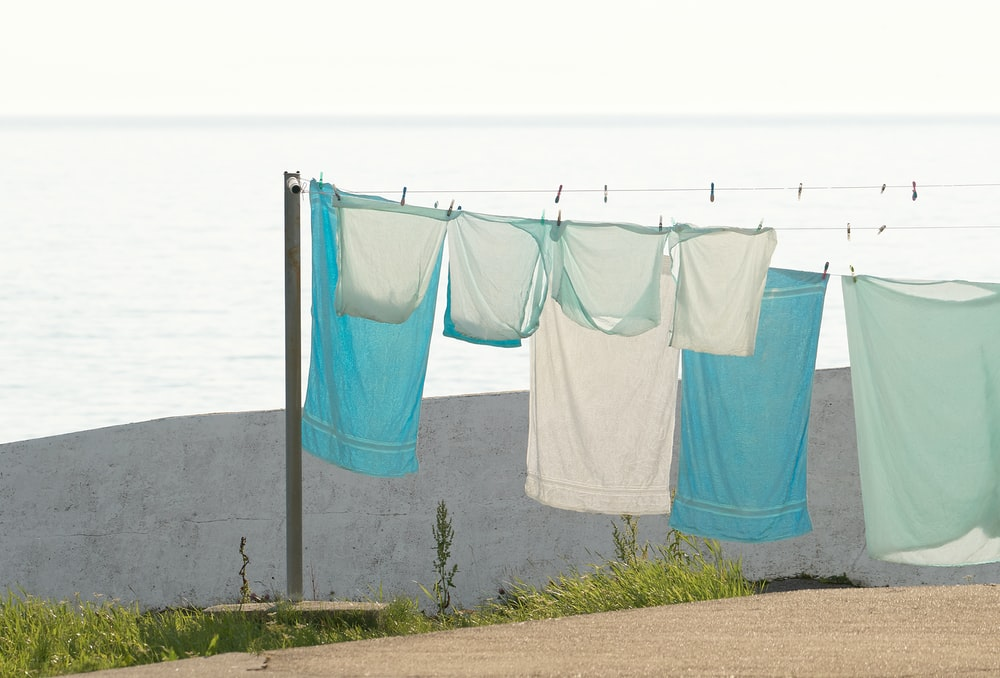 towels hanging on clothes line