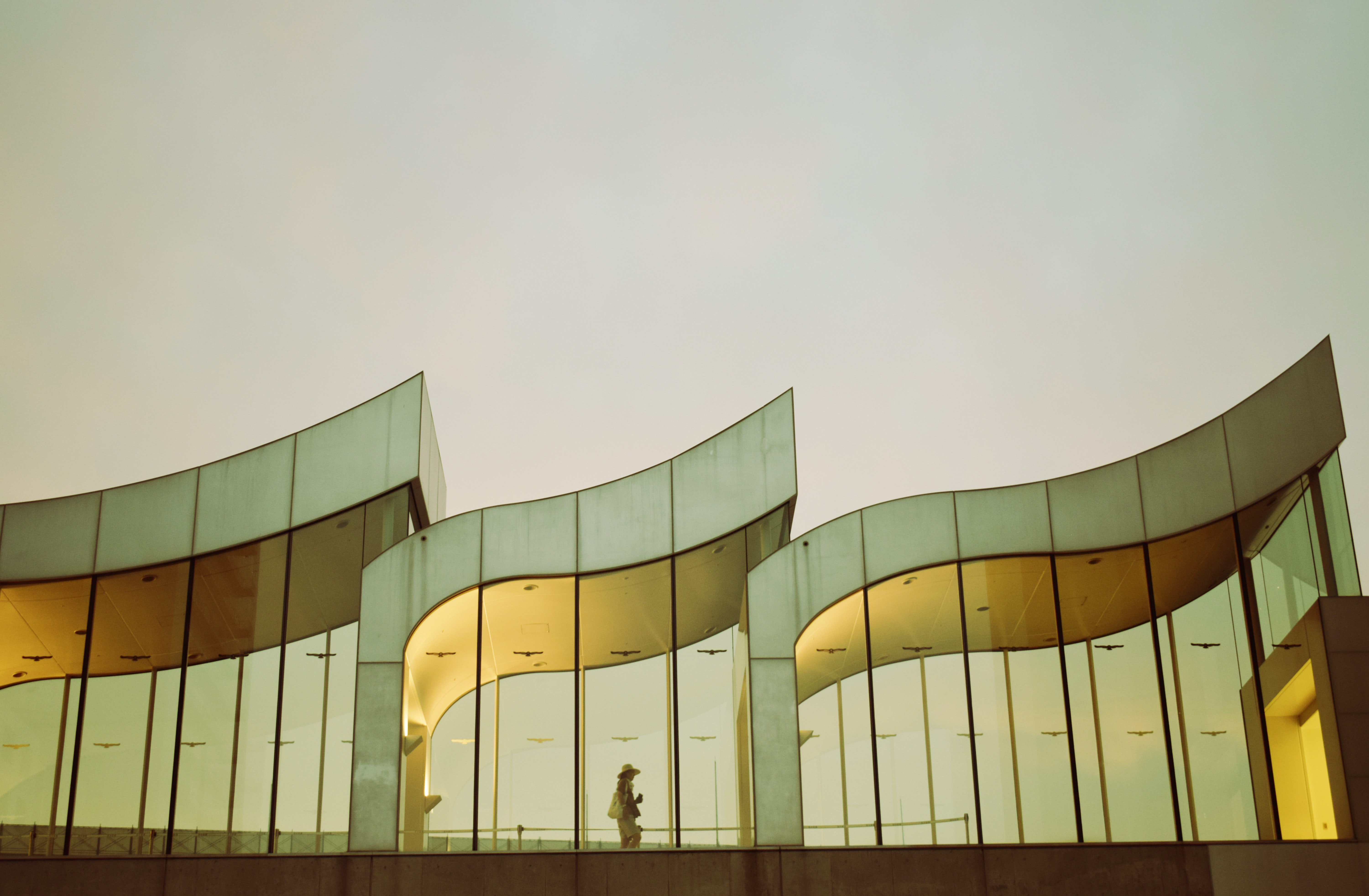 person standing on architectural building
