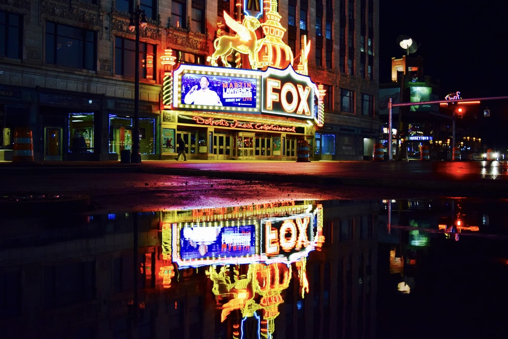 Fox cinema theater booth under night time