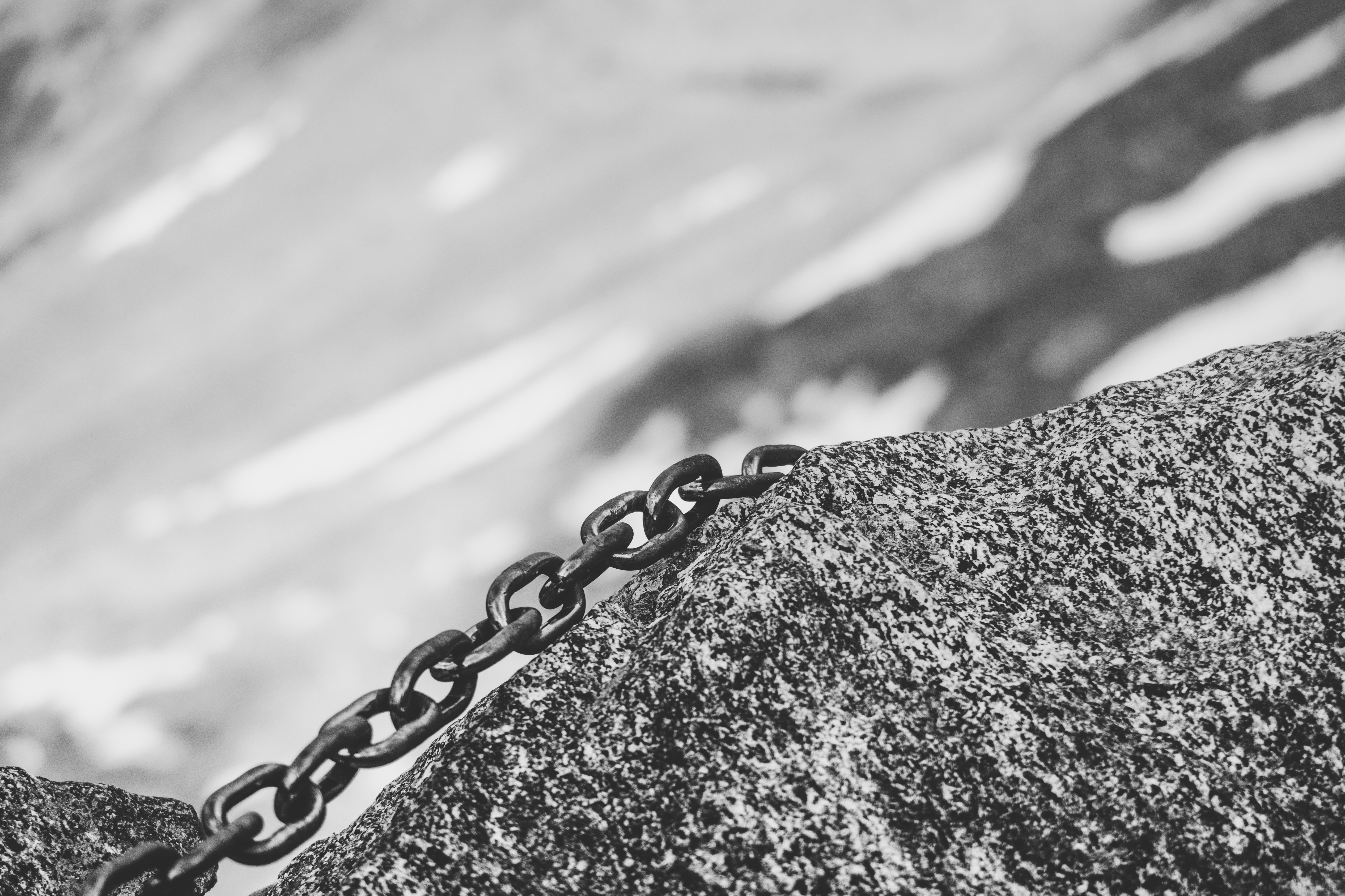 chain on rock