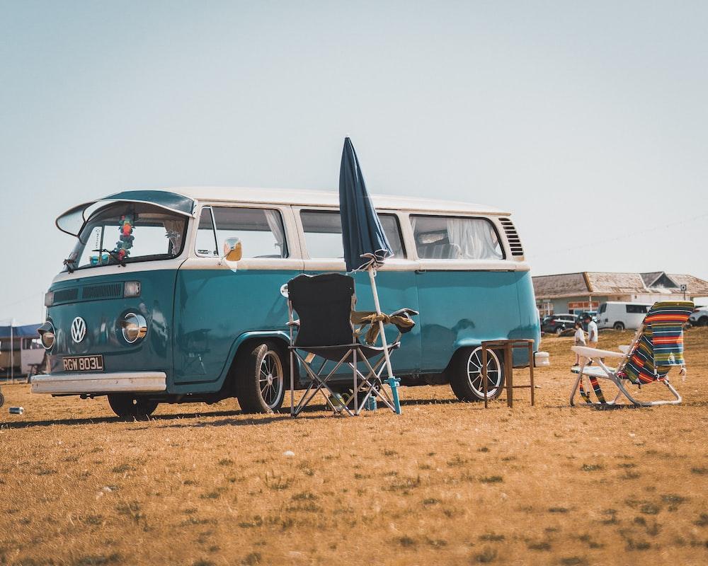blue Volkswagen T2 van