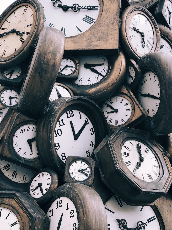 brown-and-white clocks