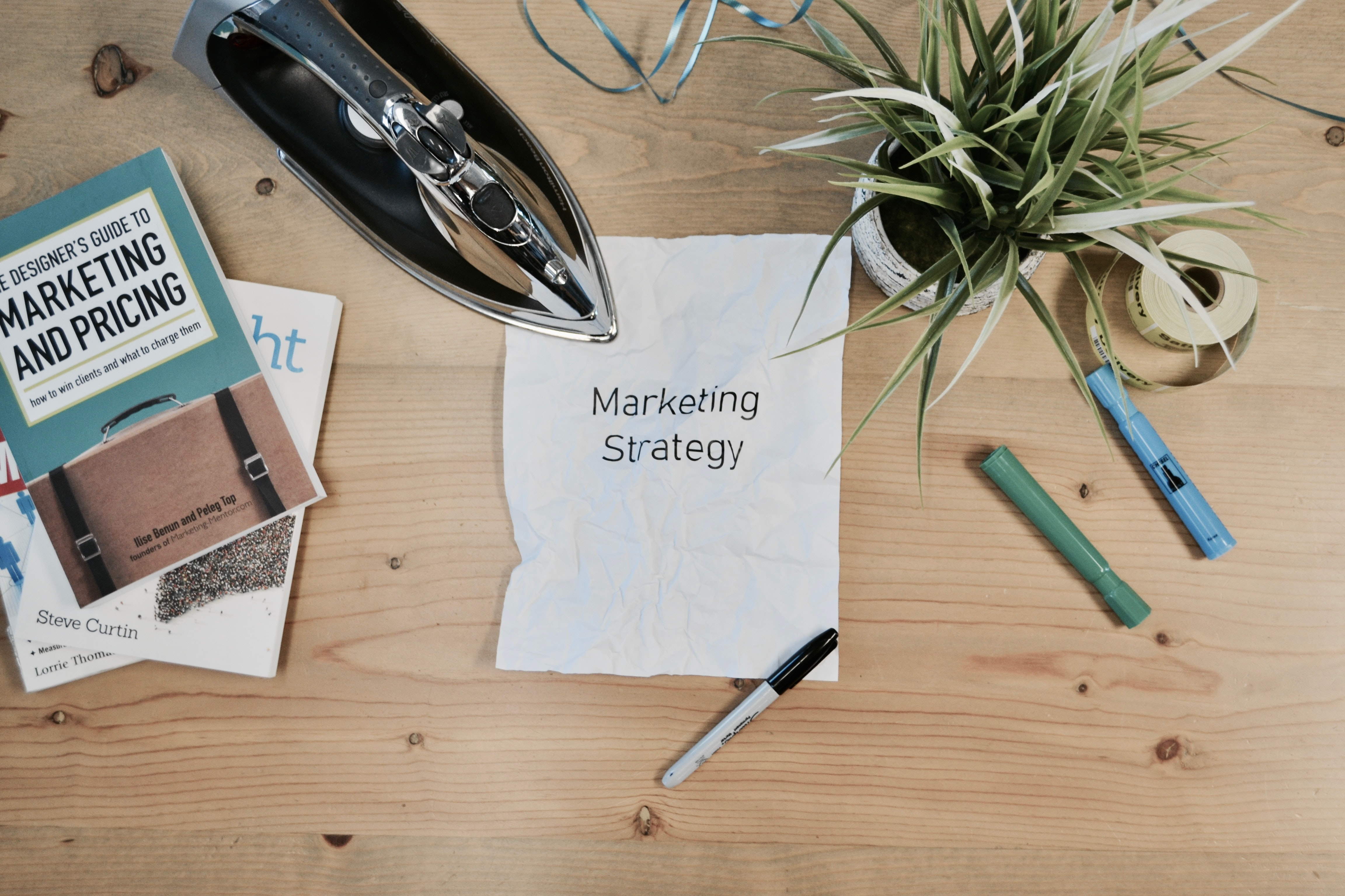 white printing paper with Marketing Strategy text